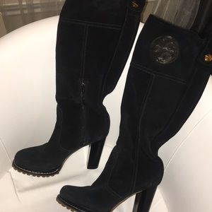 Tory Burch tall suede leather black boots size 6